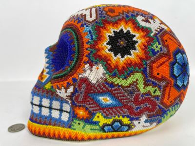 Signed Handmade Mexican Native Folk Art Beaded Skull By Huichol Indian Artist 'Guadalupe Carrillo Marquez' Dia De Los Muertos Skull From Julisco, Mexico 2005 8'W X 6'D X 9'H