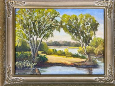 Framed Original Plein Air Oil Painting On Board By M. Daniels 12 X 16