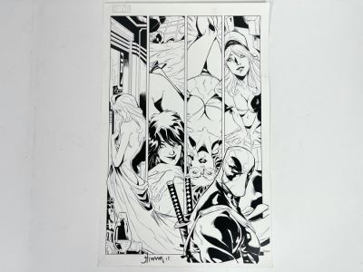 JUST ADDED - Large Signed Marvel Deadpool Comic Book Print By John Timms 11 X 17