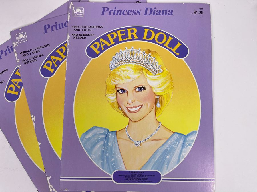 JUST ADDED - Three New Old Stock Princess Diana Paper Doll Books