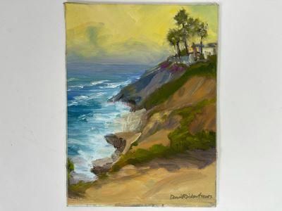 Original Plein Air Painting Of Terramar Beach, Carlsbad By Local California Impressionist Artist David Rickert 12 X 9