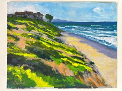 Original Plein Air Painting Of Terramar Beach, Carlsbad By Local California Impressionist Artist David Rickert 11 X 14