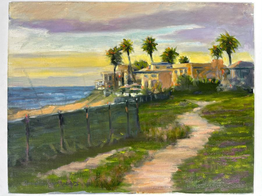 Original Plein Air Painting Of Terramar Beach Carlsbad Titled 'Along The Fence' By Local California Impressionist Artist David Rickert 11 X 14 (Artist Note: I Had To Return To Scene Several Times Due To Dusk Light. Monet Did That With His Haystacks)