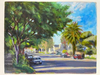 Original Plein Air Painting Of Encinitas 3rd Avenue By Local California Impressionist Artist David Rickert 11 X 14