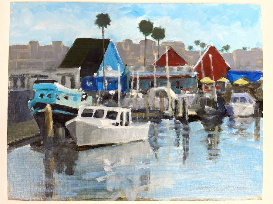 Original Plein Air Painting Of Oceanside Harbor By Local California Impressionist Artist David Rickert 11 X 14 [Photo 1]