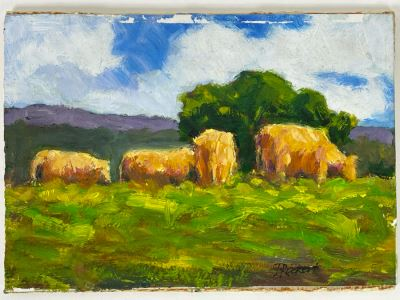 Original Plein Air Painting Of Cows In Pasture On Board By Local California Impressionist Artist David Rickert 7 X 5