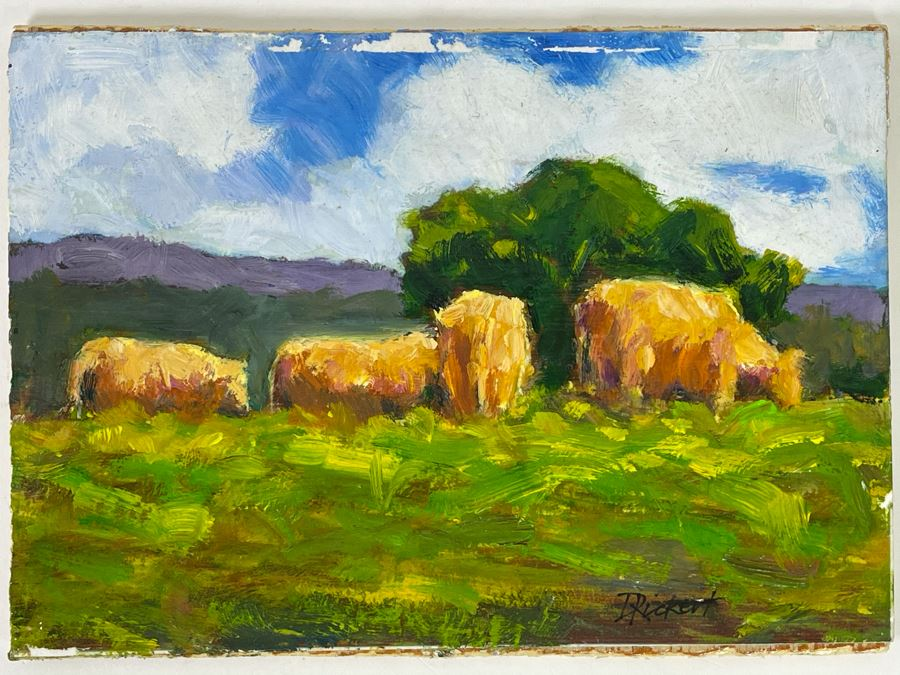 Original Plein Air Painting Of Cows In Pasture On Board By Local California Impressionist Artist David Rickert 7 X 5 [Photo 1]