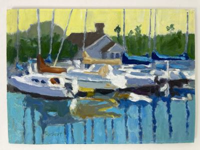Original Plein Air Painting Of Jolly Roger Marina In Oceanside By Local California Impressionist Artist David Rickert 7 X 5