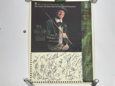 San Diego Chargers HAND SIGNED Poster For John Carney's 5th Annual Kicks On The Green Tournament 1997 - AUTOGRAPHS From Junior Seau, Stan Humphries, John Carney, Sean Salisbury - Apx 35 NFL Football Player Autographs 19 X 25