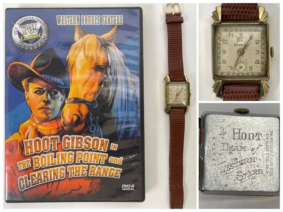 Hollywood Western Cowboy Star Hoot Gibson's Personal Engraved Vintage Benrus Watch 'To Hoot Dean Of Western Stars' With DVD Of Western Movies 'The Boiling Point' And 'Clearing The Range' [Photo 1]