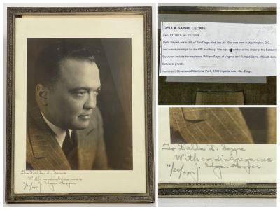 Vintage 1939 J. Edgar Hoover (Director Of The Federal Bureau Of Investigation (FBI) From 1924-1972) Hand Signed B&W Photograph Autographed And Personalized To Della Sayre Leckie In Vintage Frame