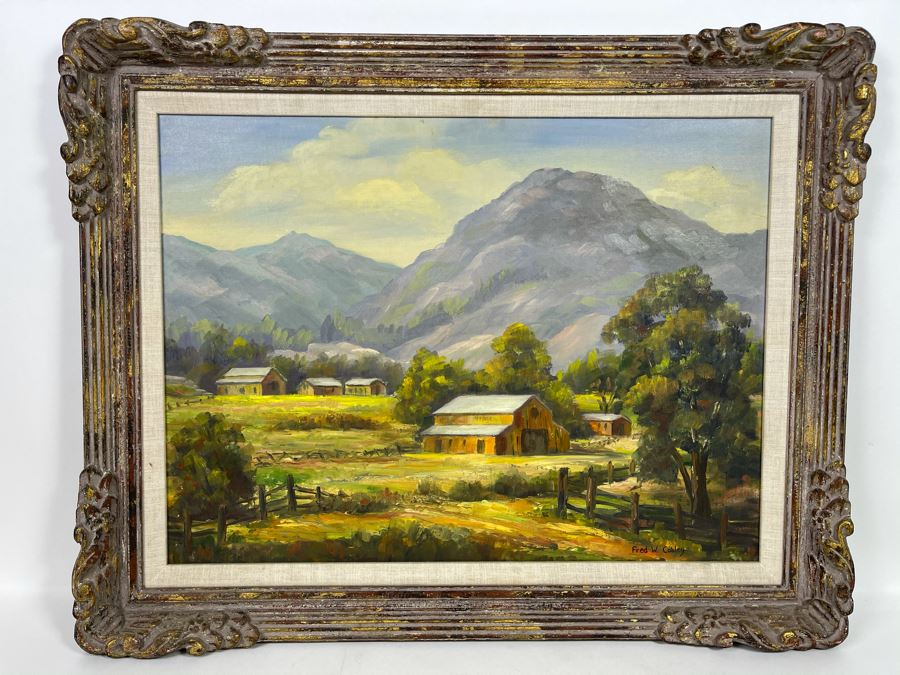 Original Plein Air Painting By Fred W. Cobley In Nice Gilded Wooden Picture Frame (Canvas Measures 23 X 17) [Photo 1]