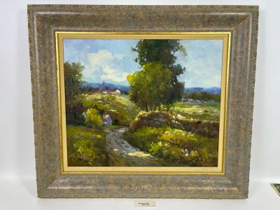 Framed Painting Titled 'Rolling Hills' Signed By Langley 24 X 19 Retails $575