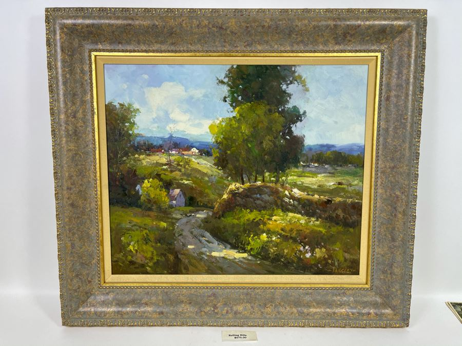 Framed Painting Titled 'Rolling Hills' Signed By Langley 24 X 19 Retails $575 [Photo 1]