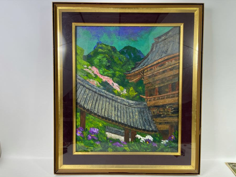 Original Signed Japanese The Hase Temple (Nara, Japan) Shadowbox Framed Painting By Koji Asoda From Yokohama, Japan 19 X 24 [Photo 1]