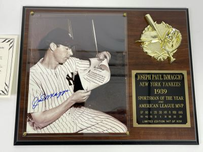 Authenticated Joe Dimaggio (HOF) Hand Signed Autograph With Presentation Wall Plaque And Certificate Of Authenticity Scoreboard Official Licensee Of Major League Baseball 15 X 12
