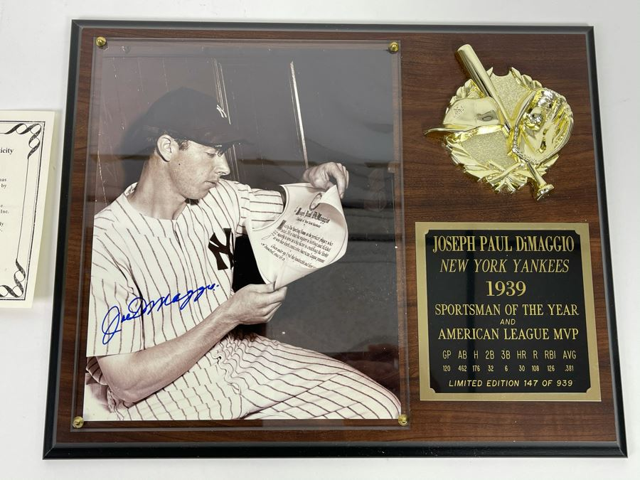 Authenticated Joe Dimaggio (HOF) Hand Signed Autograph With Presentation Wall Plaque And Certificate Of Authenticity Scoreboard Official Licensee Of Major League Baseball 15 X 12 [Photo 1]