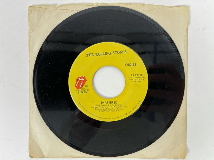 Vintage 1978 'The Rolling Stones' Shattered / Everything Is Turning To Gold 45RPM Vinyl Record
