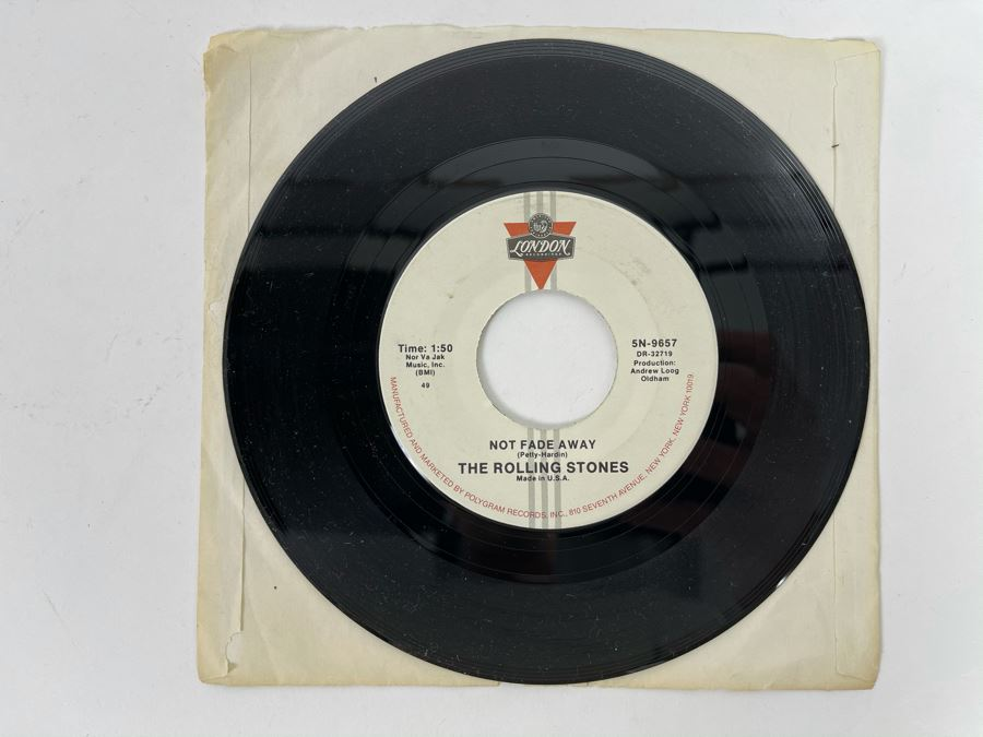 Vintage 'The Rolling Stones' Not Fade Away / I Wanna Be Your Man 45RPM Vinyl Record