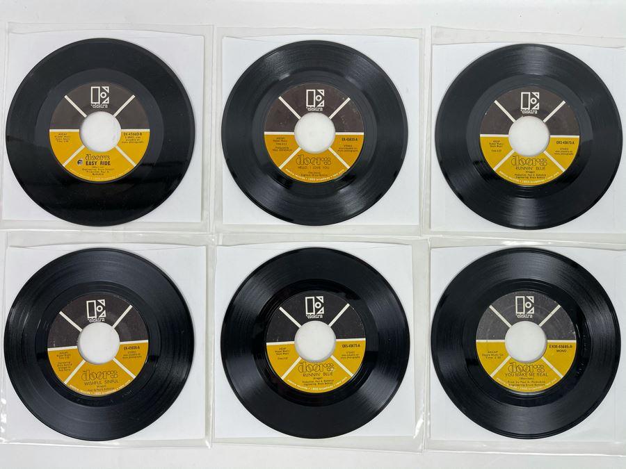 Six Vintage 'The Doors' 45RPM Records