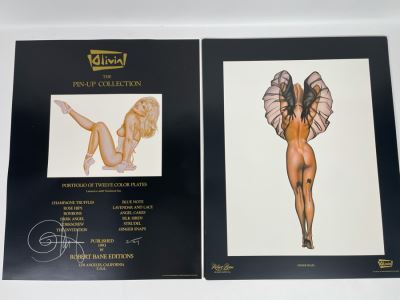 Signed Olivia de Berardinis The Pin-Up Collection Limited Edition Portfolio #2524/4000 (Robert Bane Edition, 1993) Eleven 16' X 20' Color Plates Total Plus Signed Cover Plate (Missing One Plate) 12 Plates Total - See Photos