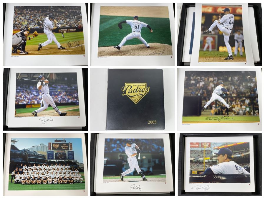 HUGE Hand Signed Autograph Collection Of MLB San Diego Padres Baseball Players 8 X 10 Signed Photographs 2005 Roster In Presentation Box: Trevor Hoffman (HOF), Bruce Bochy, Ryan Klesko, Chan Ho Park, Jake Peavy, Khalil Greene (46 Autographs - See Photos) [Photo 1]