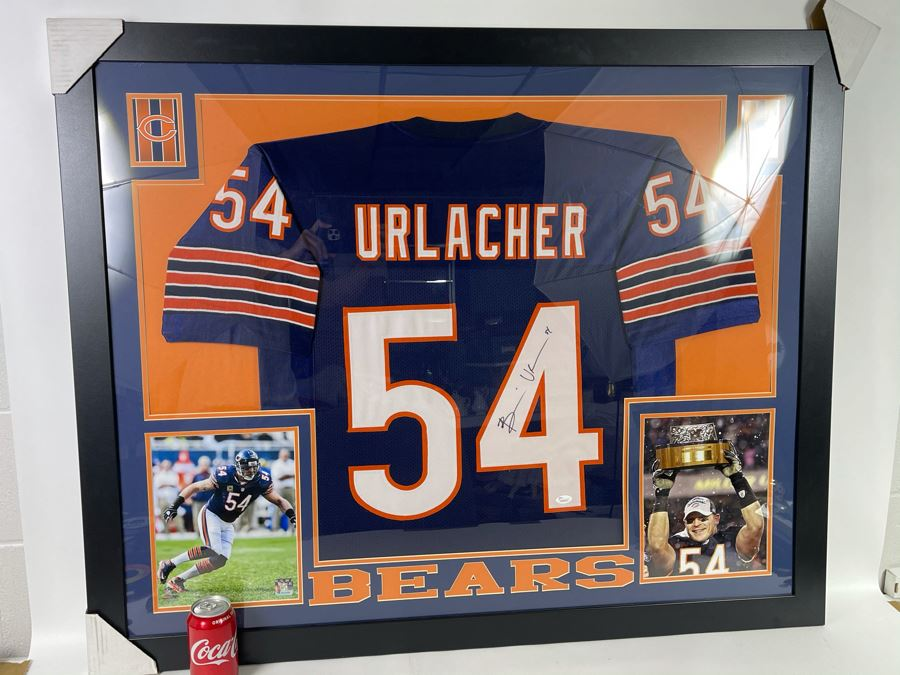 Signed NFL Chicago Bears Brian Urlacher Jersey With Certificate Of Authenticity 43 X 35