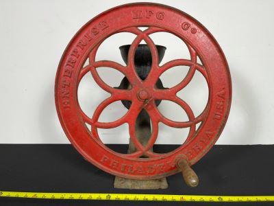 Antique Cast Iron Coffee Grinder Mill Grinding Wheel By Enterprise Mfg Co Philadelphia, PA No. 750 19.5'R Wheel X 21'H X 16'D