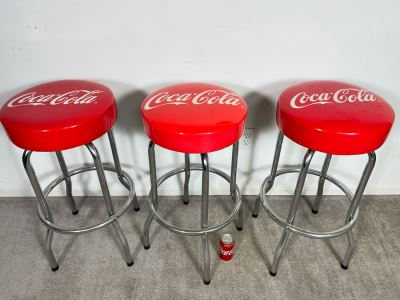 Set Of Three Modern Chrome Coca-Cola Swivel Barstools 29'H