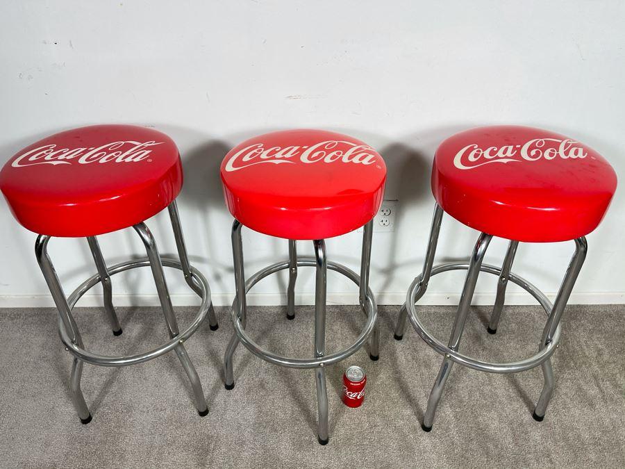 Set Of Three Modern Chrome Coca-Cola Swivel Barstools 29'H [Photo 1]