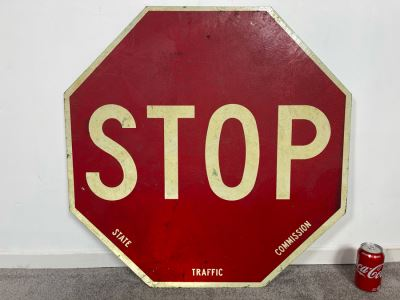 Vintage Wooden STOP Sign State Traffic Commission Road Sign 30' X 30'