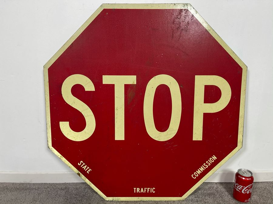 Vintage Wooden STOP Sign State Road Traffic Commission Road Sign 30' X 30' [Photo 1]