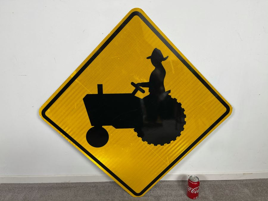 Metal Yellow & Black Reflective Tractor Crossing Road Traffic Sign 40.5'W X 40.5'H [Photo 1]