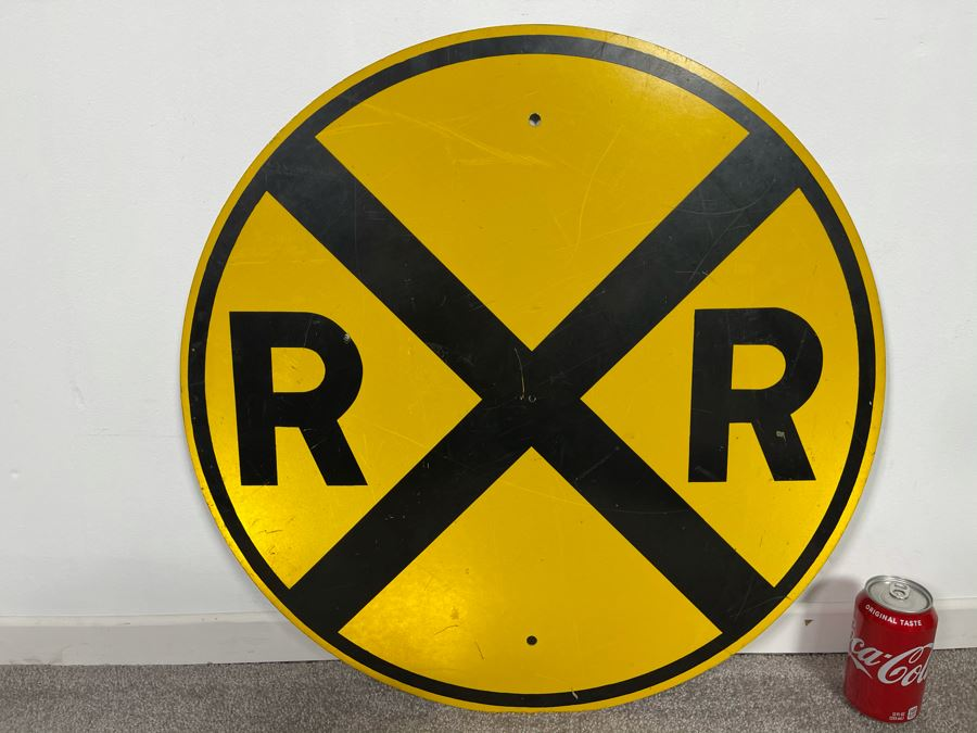 Vintage Metal Yellow & Black Reflective Railroad Crossing Road Traffic Sign 24'R [Photo 1]