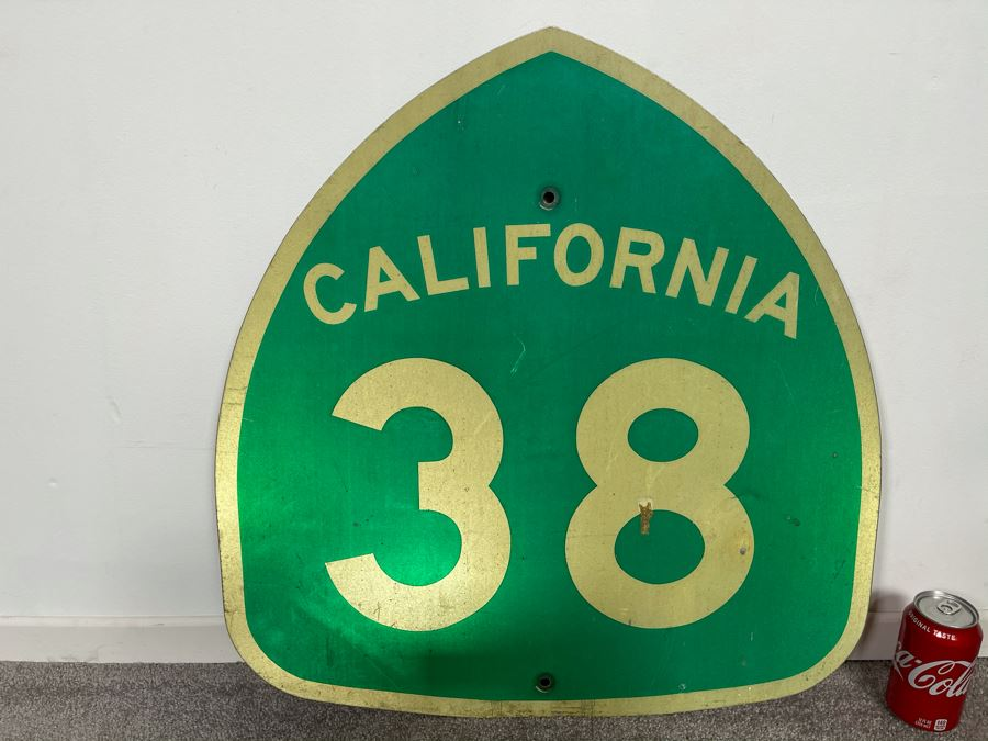 Vintage Metal Green & White California State Route 38 Road Traffic Sign 24'W X 24.5'H [Photo 1]