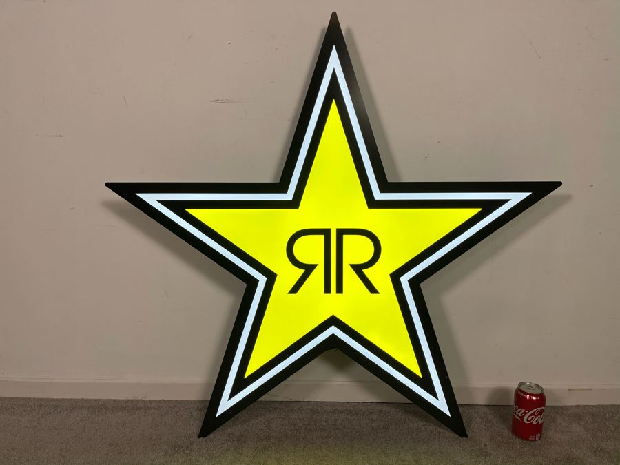 New With Box Rockstar Energy Drink Large LED Lighted Sign With Box And Metal Hanger Hardware 40'W X 38'H [Photo 1]