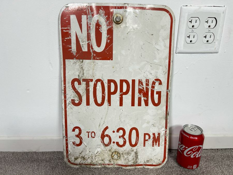 Vintage No Stopping 3 To 6:30PM Metal Road Sign 12W X 18H [Photo 1]