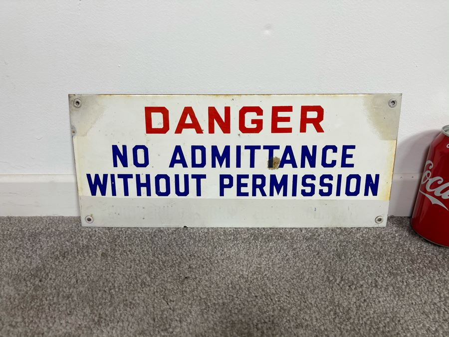 Vintage Porcelain Metal Sign 'Danger No Admittance Without Permission - Southern California Edison Company' 14 X 6 [Photo 1]