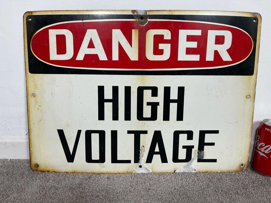 Vintage Porcelain Metal Sign 'Danger High Voltage' 20 X 14 [Photo 1]