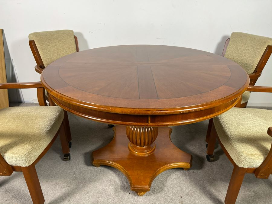 Stanley Furniture 48'R Pedestal Table With One 20'L Leaf And Four Armchairs On Casters (Not Sure If Chairs Are Stanley Furniture' - Has Table Pads [Photo 1]