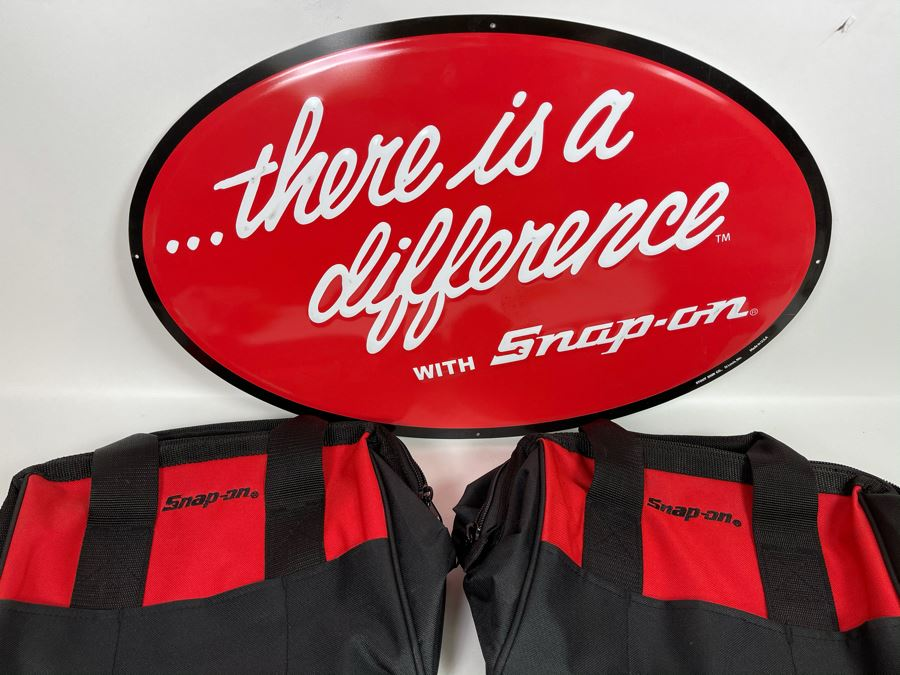 Snap-On Tools Metal Advertising Sign 24 X 15 With Two Snap-On Tools Tool Bags [Photo 1]