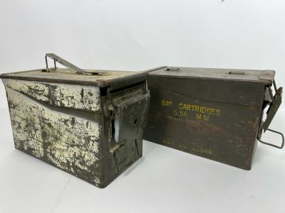 Pair Of Vintage Military Metal Ammo Cartridges Ammunition Boxes