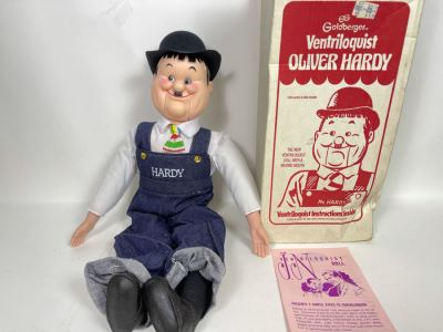 Vintage New Goldberger Ventriloquist Oliver Hardy With Box And Instruction Manual