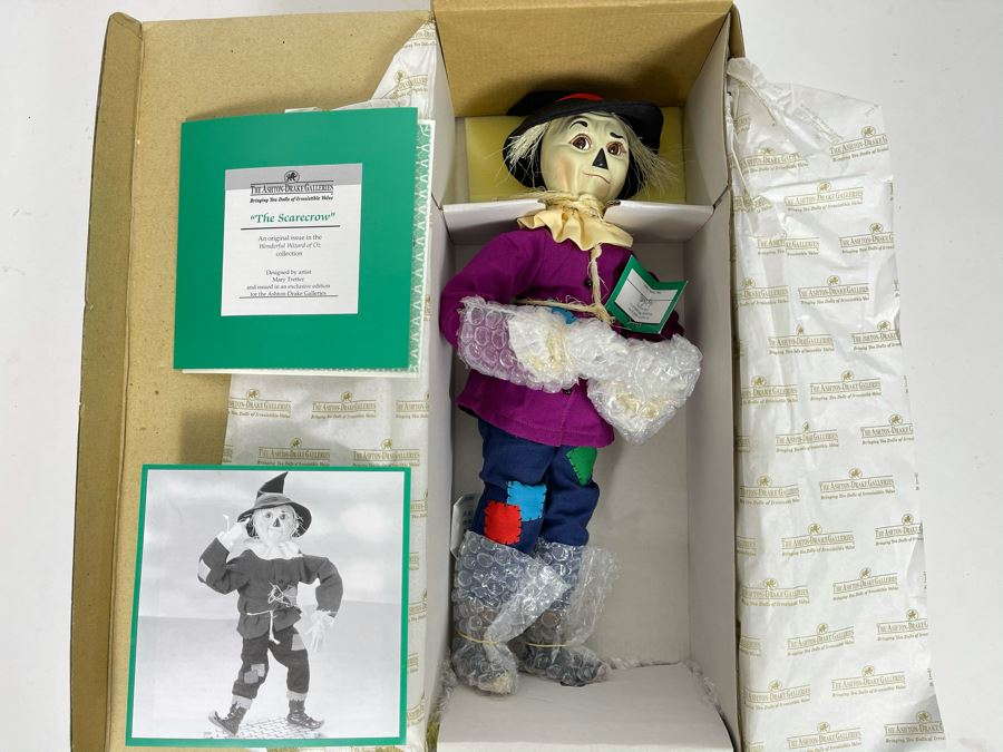 New The Ashton-Drake Galleries Collectible Doll 'The Scarecrow' From The Wizard Of Oz Collection By Mary Tretter With Certificate Of Authenticity 16'L