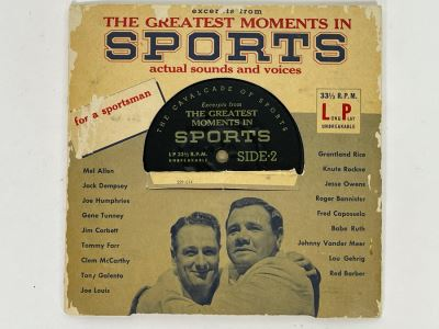 Vintage 33RPM Vinyl Record The Greatest Moments In Sports Actual Sounds And Voices: Jack Dempsey, Jesse Owens, Babe Ruth, Lou Gehrig