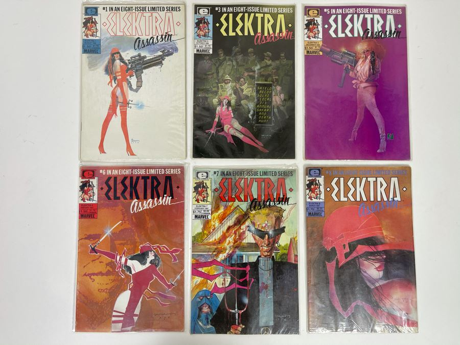 Collection Of Vintage Elektra Assassin Comic Books #1,3,5,6,7,8 [Photo 1]