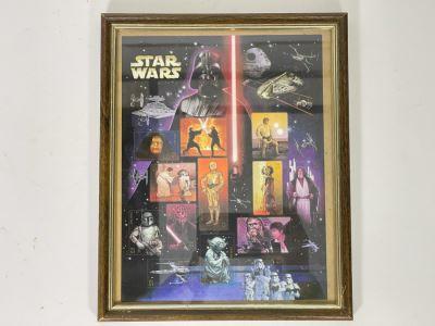 Vintage 2007 Framed MINT Star Wars U.S. Postage Stamps $6.15 Face Value