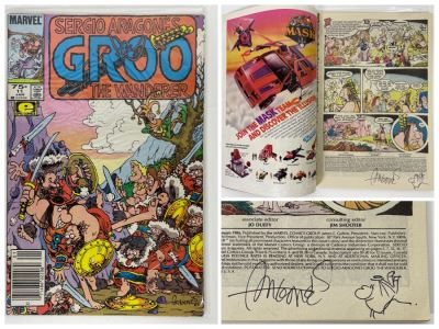 Autographed With Hand Illustrated Comic Book Character Sergio Aragone Comic Book Sergio Aragone's Groo The Wanderer #11