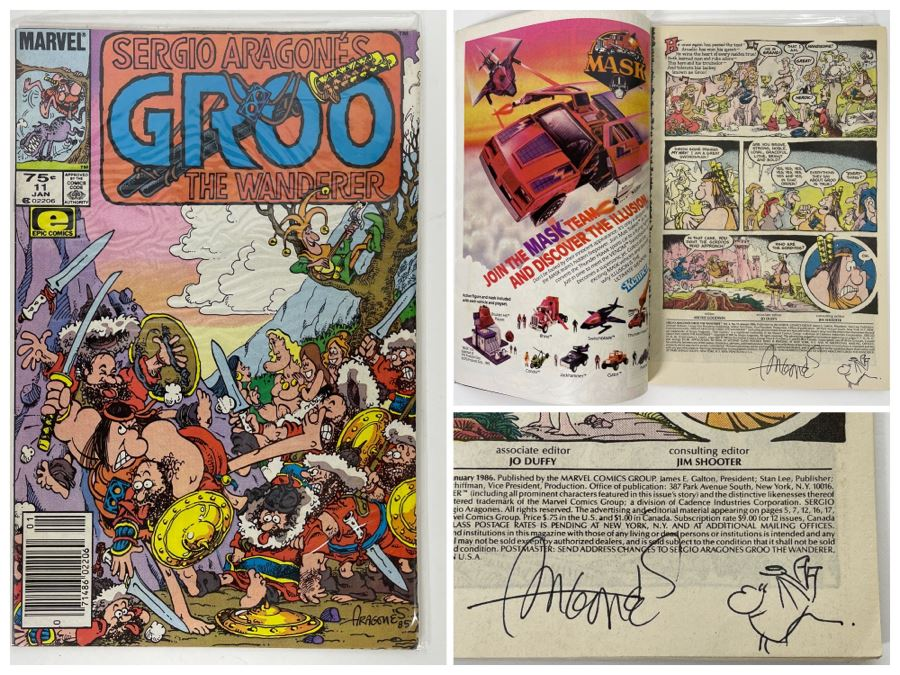 Autographed With Hand Illustrated Comic Book Character Sergio Aragone Comic Book Sergio Aragone's Groo The Wanderer #11 [Photo 1]