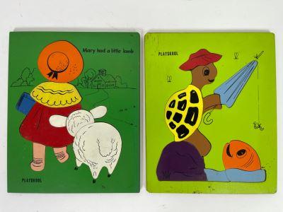 Pair Of Vintage Playskool Wooden Childrens Puzzles 9 X 11.5